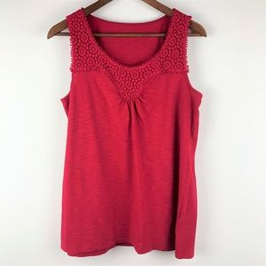 Coldwater Creek Red Crochet Lacing Tank Top  L 14